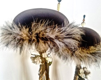 Hat Stand/Wig Stand, Set of 2, Handmade Brown Velvet Boa Feathers Tall Pincushion, Country Romance