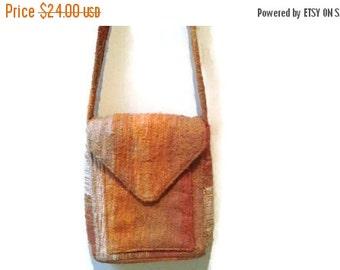 SALE Orange purse hand loomed Au Terroir made in Quebec,  Canada