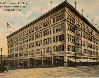 1913 Portland Oregon Postcard of Olds Worthman & King Building