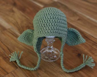 Yoda Crochet Hat Size 0-3 Months - May the 4th Be With You - Baby Hat - Jedi Hat - Yoda Photo Prop