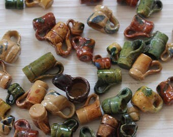 Vintage Mini ceramic cups, charms, beads