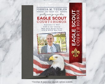 EAGLE SCOUT Court-of-Honor Invites / Flag background Card/Postcard  DESIGN / #EagleScout #DIYprintable #CourtofHonorInvite
