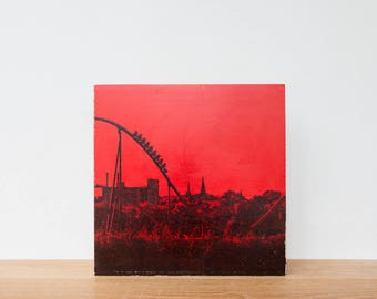 "Roller Coaster, Photo Art Block, 'Joy Ride #6' Limited Edition Image Transfer on 12""x12"" Wood Panel by Patrick Lajoie, amusement park"