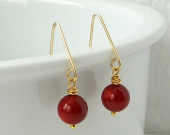 Red Earrings, Mother's Day Gift, Coral Earrings, Gold Earrings, Minimalist Earrings, Modern Jewelry, Everyday, Simple, Contemporary, Gift