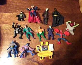 Large lot batman superman the joker Spider-Man and more action figures 13 pieces