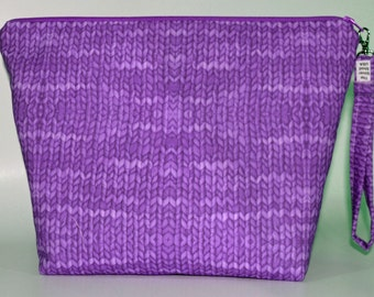 Designer Jeweltone Purple Knit with Purl print inside project bag