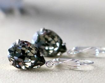 Black Diamond Lever Back Earrings | Swarovski Earrings | Pear Earring | Gift For Her | Wedding Jewelry | Bridal Earrings | Bridesmaid Gift