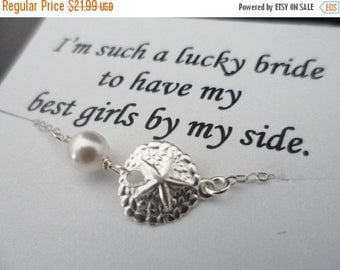 ON-SALE Sand Dollar and Pearl Sterling Silver Necklace, Bridesmaids Gifts, Flower Girl, Jr. Bridesmaids