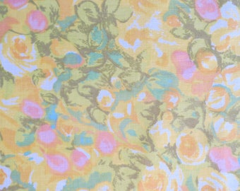 Vintage Sheet Fabric Fat Quarter - Watercolor Floral Field