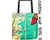 Custom Map Tote Bag, Mothers Day Gift, Mothers Day from Son, Mothers day from daughter, Custom Map Beach Bag, Hometown Gift, Beach Bag Tote