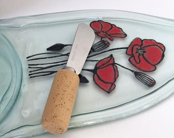 Hand Painted Cheese Tray, Custom Cheese Tray, Poppies Kitchen Decor, Flattened Wine Bottle, Serving Platter