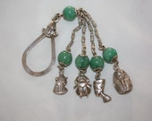 Art Deco Egyptian Revival Keychain, Sterling Lanyard, Egyptian Charm Pendant, 1940 Jewelry