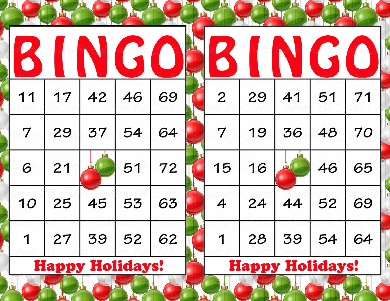 200 Happy Holidays Christmas Bingo Cards DIY