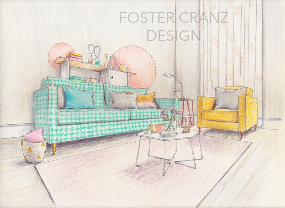 Original Art Print Pastel Living Room Interior Design