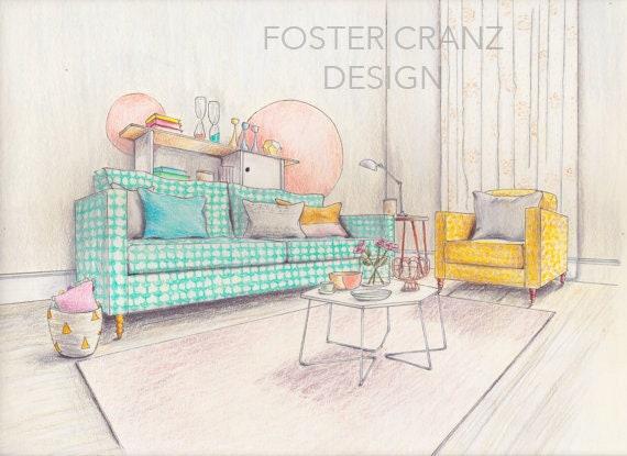 Original Art Print Pastel Living Room Interior Design