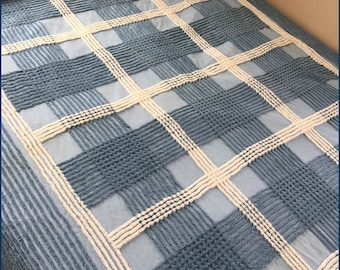 Vintage Chenille Bedspread Plush Blue And White