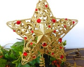 """Bright Gold w/Red Gemstones Scrolled Tree Topper /7""""  Gold Metal Star Christmas Holiday Decor"""