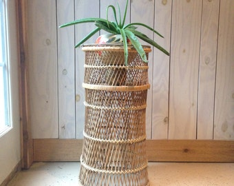Vintage Wicker Plant Stand-Bohemian Chic Pot Plant Stand-Tall Wicker Plant Stand