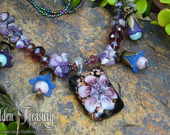 Amethyst Flower Necklace purple blue glass and gemstone beaded boho woodland victorian jewelry