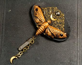 Barrette, moth, witch, magic, Moon