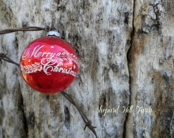 Red Christmas Ornament on Barbed Wire Art DIGITAL Download Styled  Photography Primitive Rustic Cowboy Background Mockup  COMMERCIAL LICENSE