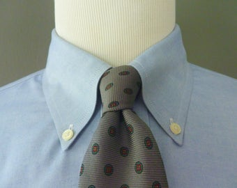 Vintage POLO by Ralph Lauren Geometric Medallion Foulard Patterned Trad / Ivy League Neck Tie.  Made in USA.