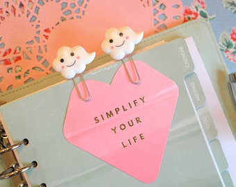 Happy Cloud felt planner paper clip Embroidery