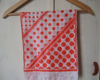 vintage 1970s scarf silk red and white polka dots  10 x 52 inches