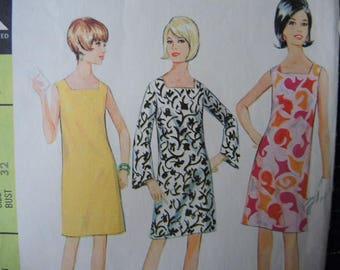 vintage 1960s McCall's sewing pattern 8783 misses dress in two versions size 12