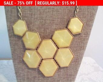 SALE Yellow statement necklace, bib necklace, estate jewelry