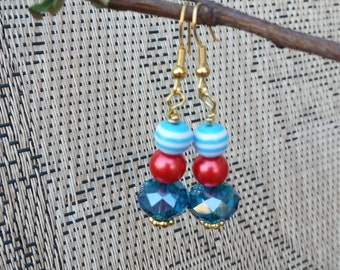 Turquoise and Red Beaded Dangle Earrings