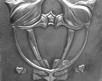 Hearts & Flowers Art Nouveau Pewter Picture