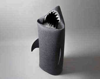 SHARK, Felt laundry basket for bathroom or children's room  as a basket for toys, anthracie, silver teeth, Uczarczyk, Gift ideas,