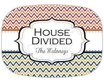 House Divided Personalized Melamine Platter - Chevron (personalized with your 2 teams' colors)