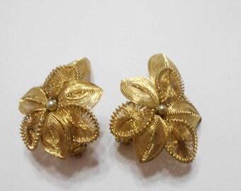 Vintage Gold Tone Metal Clip Earrings (3305) (BP) Germany
