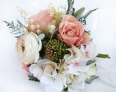 Pink Wedding Bouquet Bridal Bouquet, Bride's Flowers Wedding Flowers Bridesmaid Pink Ivory Rose Hydrangea White Lily of Valley Soft Romance