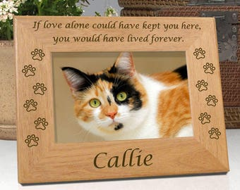 Cat Memorial Frame - Choice of 4x6 or 5x7 Picture Frame - Personalized With Name and Cat Paw Prints - Free Sympathy Card