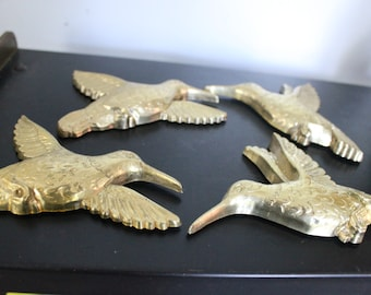Vintage set of 4 gold Birds Wall Hanging Decor Art, gold hummingbirds, 4 homco wall birds