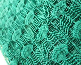 Vintage shower curtain Forest Green, Emerald Green Scalloped pattern lace with chenille tufts, green lace shower curtain