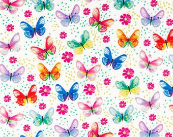 Butterfly Fabric-Spring Fabric-Fabric by the Yard-Butterflies Fabric-Girl Room Decor- Girl Pillow Fabric-Home Decor Fabric-Pillow Fabric