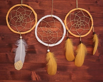 3 Dream Catchers - Boho Decor, Tribal Wedding, Native Mobiles - Wedding or Nursery Decoration Dream Catchers - Home Decor for Sisters