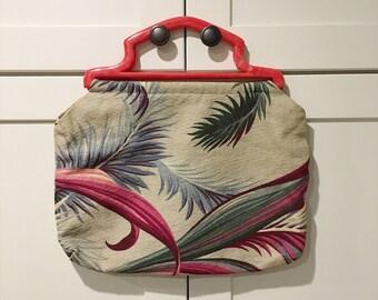 40s/50s Barkcloth Sewing Bag with Marbled Red Handle, Tropical Print Barkcloth Sewing Needle Point Bag, Vintage Sewing Bag