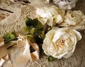 Ivory linen long stem roses set of 3 shabby cottage chic old vintage distressed fake rose grouping satin bow home decor anita spero design