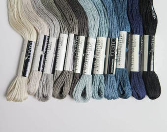 Cosmo Embroidery Floss Set | Janet Clare Embroidery Floss Collection Lecien Cosmo Embroidery Thread - 12 skein floss kit - Sky Blue Gray