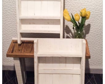 Rustic Reclaimed Wood Shelves with Rail Country Shabby Chic