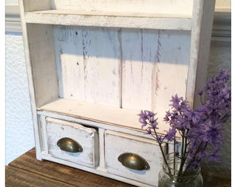 Rustic Reclaimed Wood Shelves with Drawers Country Shabby Chic