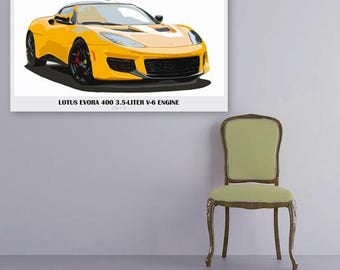 Lotus Evora 400,Orange,Fast car,8x14 in and more|Car Art print|gift for men|Classic cars|anniversary gift for him|gifts for her. Wall art.