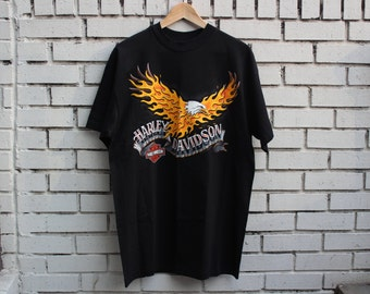 Deadstock HARLEY DAVIDSON Sarasota, Florida Shirt Vintage Rossiters Motorcycle Bikers 1992 American Road Warrior Eagle