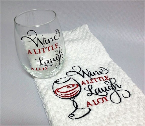 Holiday Gift Set Wine Glass Kitchen Towel Christmas Gift