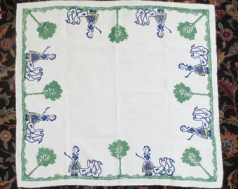 "CUTE Vintage Small Cotton Printed Tablecloth, Winsome Girl, Ducks and Trees, 38"" by 34"", Appears Never Used"